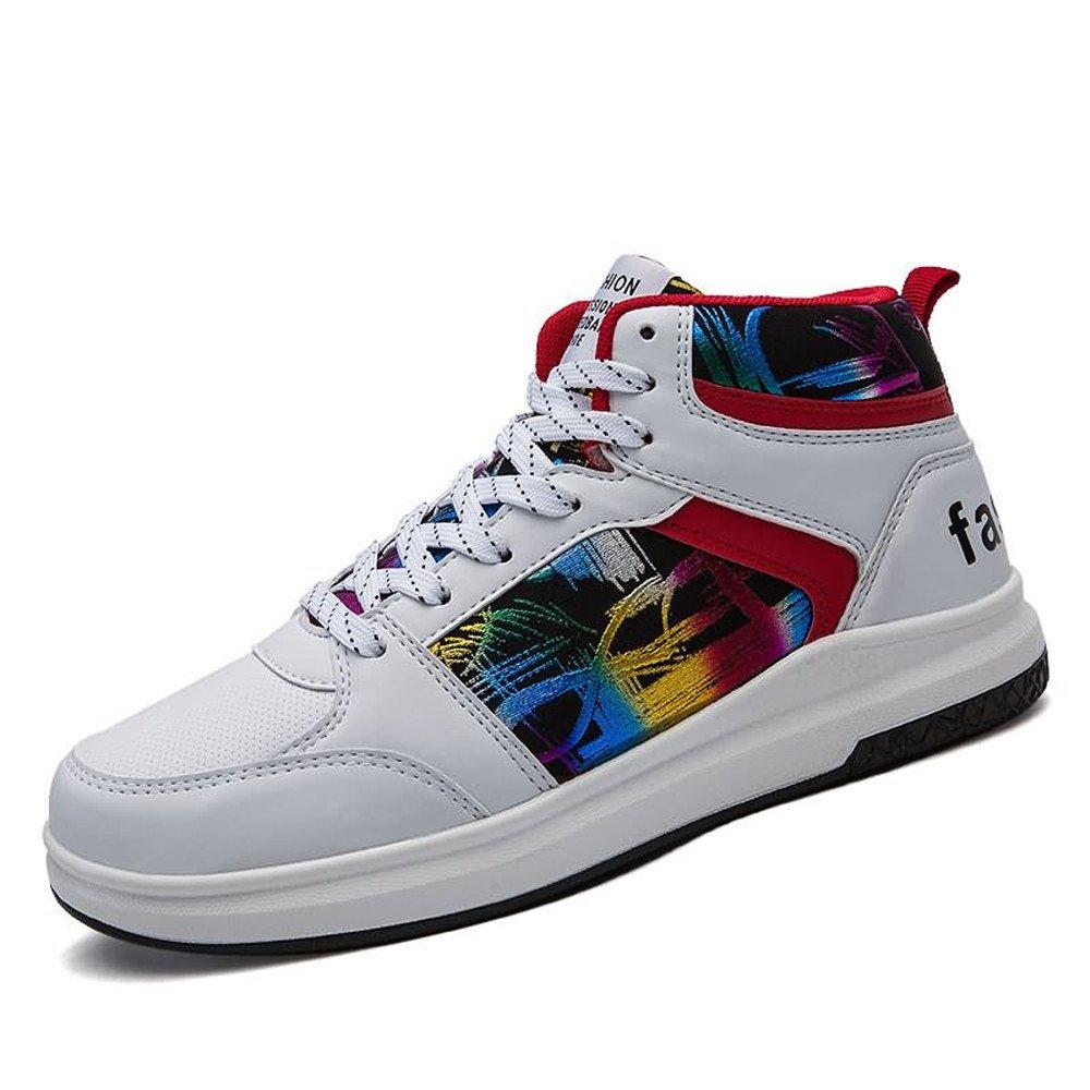 Shufang-schuhe, 2018 Herren High Fashion Turnschuhe Casual Style mit Gemusterten Hip-Hop-Basketball-Schuhe (Farbe   Weiß, Größe   45 EU)