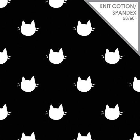 Gato caras tela de Jersey – gatos caras negro – tela de Jersey – camjer02 –