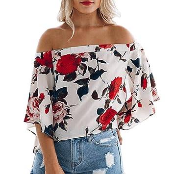 bluse damen Kolylong® Frauen elegante trägerlose gedruckte flare Ärmel  Bluse Herbst mode lange Ärmel Hemd