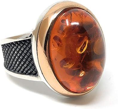 Turco hecha a mano joyería 925 Sterling Silver Anillo de piedra ámbar para hombre Talla 11
