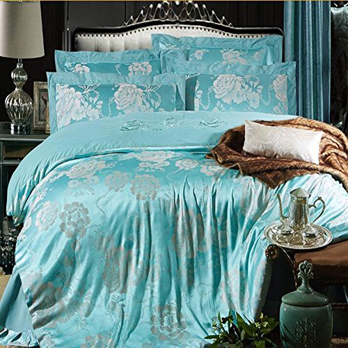 Guitar Top Quilt (MeMoreCool Top Grade European Style Luxury 100% Cotton Satin Wedding Bedding Sets,Jacquard Duvet Cover,Gifts for Friends and Families,Flat Sheet,4Pc,Full,Green)