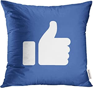 VANMI Throw Pillow Cover White Like Symbol of Finger Up Thumb in Flat Style Blue Hand YouTube Social Decorative Pillow Case Home Decor Square 18x18 Inches Pillowcase