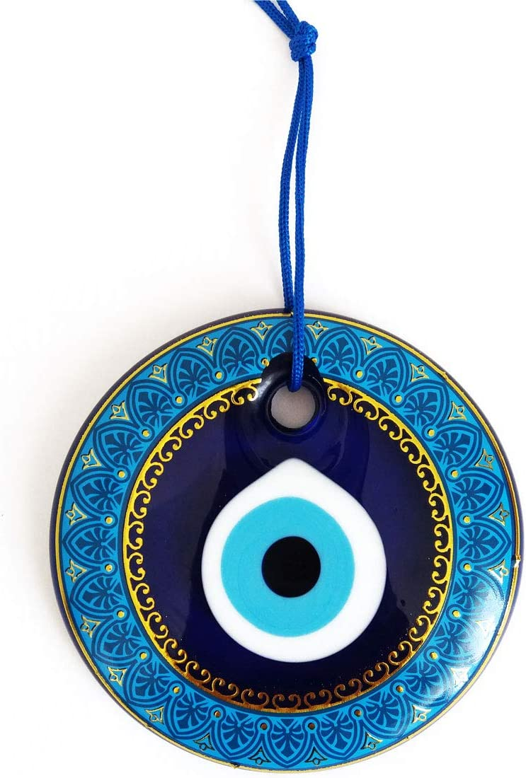 Erbulus Glass Blue Evil Eye Wall Hanging Gold and Turquoise Flower Pattern Ornament – Turkish Nazar Bead - Home Protection Charm - Wall Decor Amulet (Turquoise)
