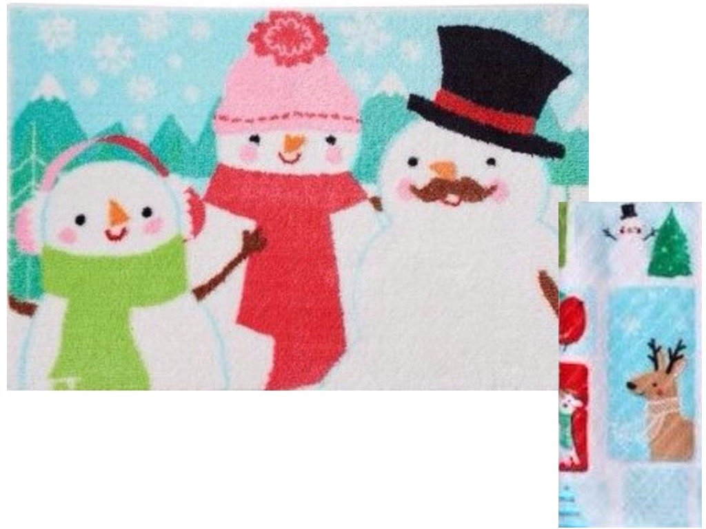 St. Nicholas Square Christmas Holiday Snowman Bath Rug & Snow Friends Hand Towel Kohl' s Department Stores