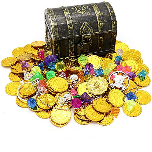 (Kids Pirate Treasure Chest Toy Box Antique Color with Lock for Party Favors Props Decoration/Kids Storage Treasure Chest with (100 Plastic Gold Coins+100g Gems+2Earrings+2Rings+1Necklace))