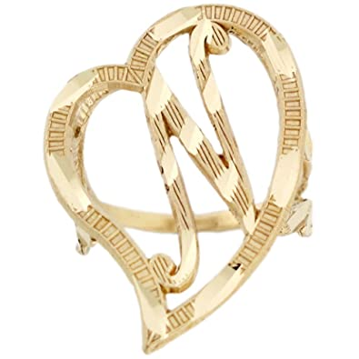 Amazon 14k Real Gold Heart Cursive Letter N Diamond Cut