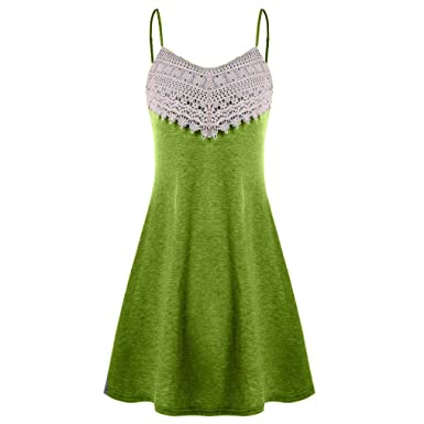 d4b11aa766b Ruhiku GW Women s Summer Dress Spaghetti Strap Crochet Lace Sundress  Sleeveless Slip Mini