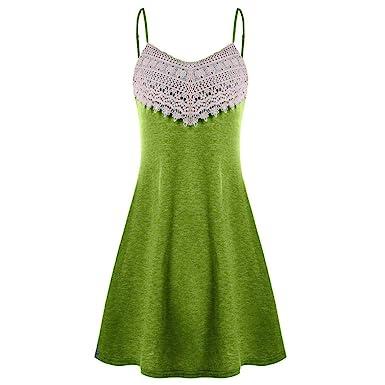 ca728046db1 Ruhiku GW Women s Summer Dress Spaghetti Strap Crochet Lace Sundress  Sleeveless Slip Mini