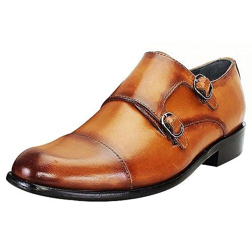 Brune Tan Color 100 Genuine Leather Double Monk Strap Shoes For Men