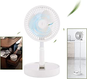 Portable Floor Fan, Telescopic Desk Fan and Pedestal Fan 2 IN 1, Arctic White Fashionable Travel USB Table Fans Built-in 8000mAh Battery Stand Up Fan for Office Home Outdoor Camping