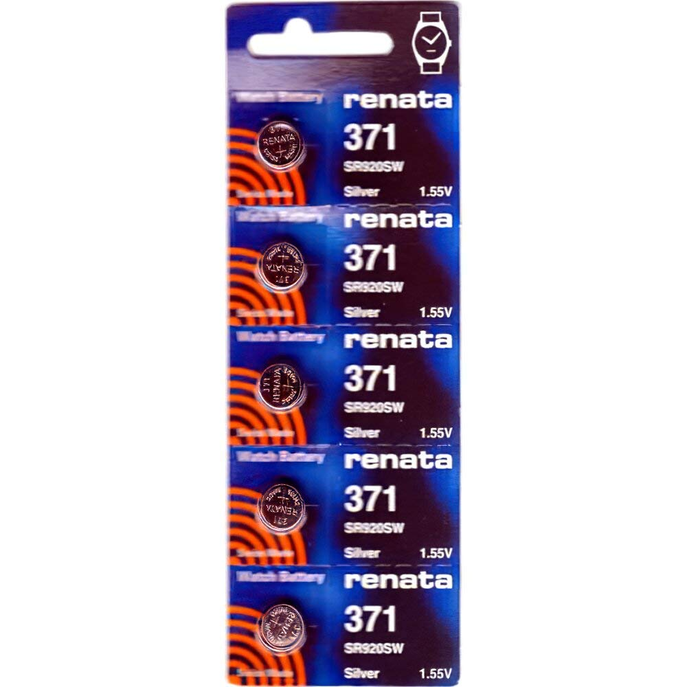 Renata #371 Silver Oxide Battery - 5 Pack