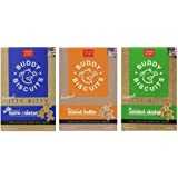 Buddy Biscuits Original Itty Bitty All Natural Treats For Dogs 3 Flavor Variety Bundle: (1) Buddy Biscuits Itty Bitty All Natural Peanut Butter, (1) Buddy Biscuits Itty Bitty All Natural Bacon Cheese, and (1) Buddy Biscuits All Natural Roasted Chicken, 8 O