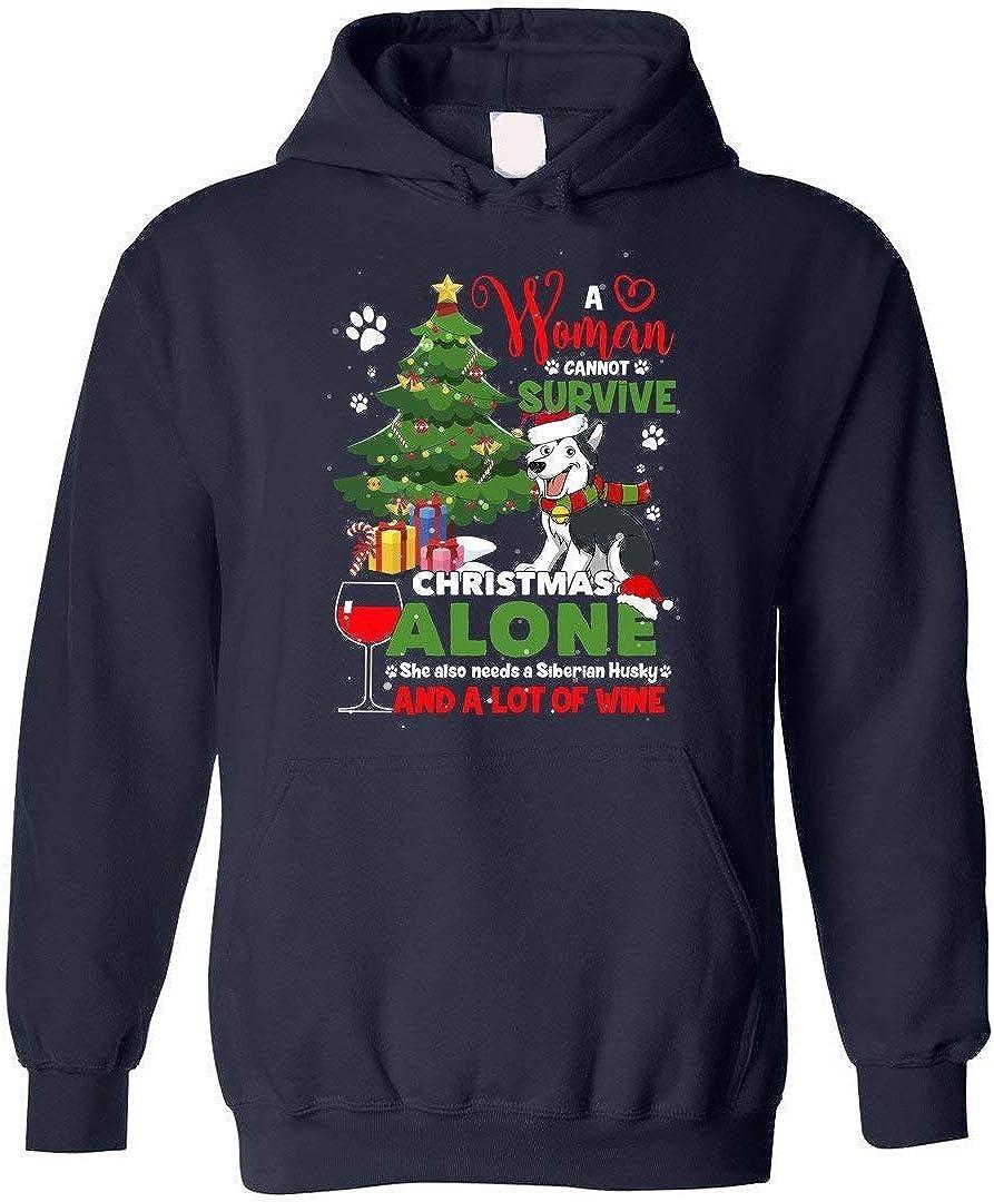 tee A Woman Cannot Survive On Christmas Movies Alone She Also Needs A Siberian Husky Women Sweatshirt