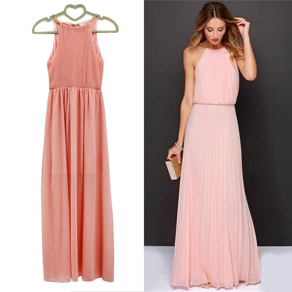 Women Sexy Summer Chiffon Ruffle Sleeveless Evening Ball Gown Long Maxi Dress Pink XL: Amazon.co.uk: Clothing