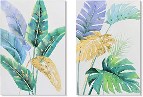 Amazon Com Seven Wall Arts 2 Pieces Botanical Natural Art Tropical Leaves Simple Life Painting Nordic Green Plam Banana Leaf Plant Framed Artwork For Living Room Bedroom Kitchen Office Home Decor 24x36 Inch Design great graphics about tropical vacation centers, spring break, beach and more with this set of tropical leafs and decorate your project, shop or publication, create special articles or promotions about summer vacations. seven wall arts 2 pieces botanical