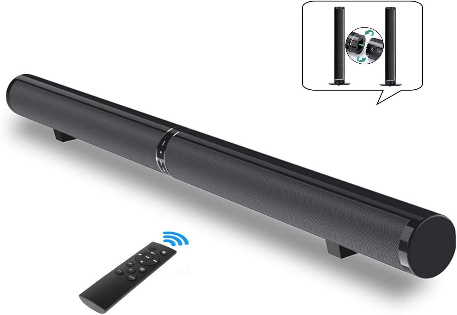 Sound Bar for TV, Fityou 50W 39.4inch Bluetooth 4.2 Speakers, Surround Soundbar 2.0 Channel Wired and Wireless Home Theater, Support HDMI Arc, Optical, RCA, 3.5mm Aux, USB and Subwoofer Input
