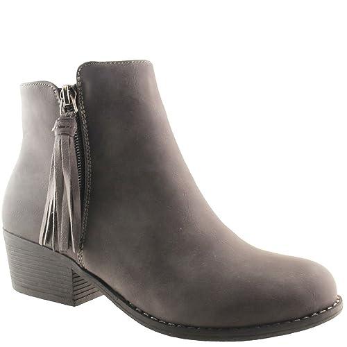 edf48adce53a66 Angesagte Ankle Boot Stiefelette mit Fransen Damenschuhe Stiefel Schwarz