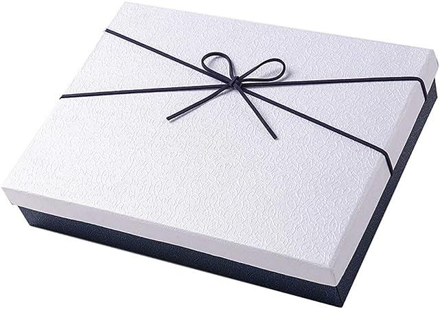 YIKEY-Caja de Regalo Caja de Regalo Rectangular Blanca, decoración de Lazo Azul, Bufanda de cumpleaños