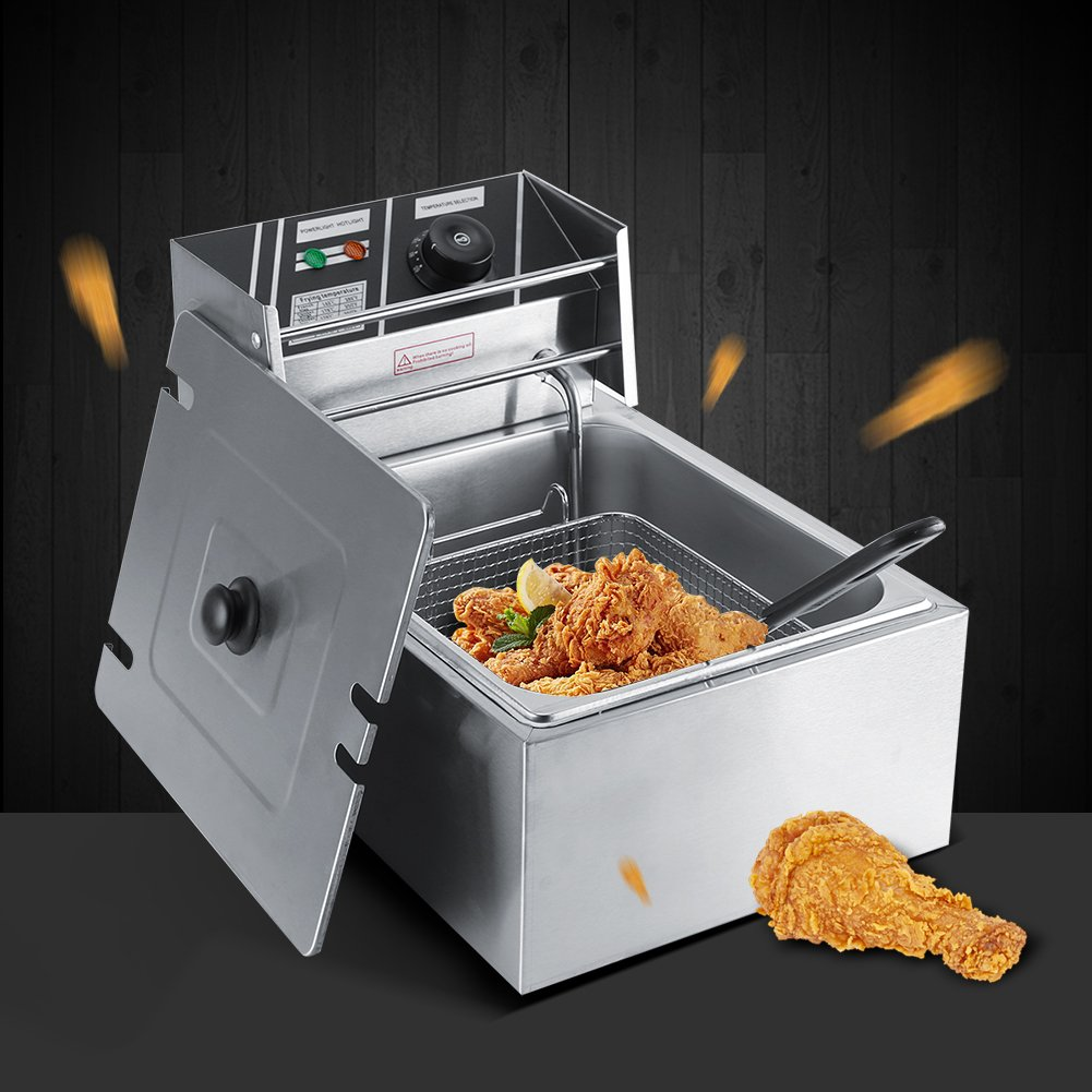 Zerone Freidora 6L de Acero Inoxidable Grasa freidora Comercial Catering Cocina máquina eléctrica con Cesta y Temperatura Control freidora: Amazon.es