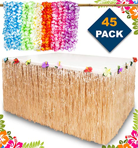 Aloha Happiness Hawaiian Leis Necklaces (Pack of 36) + 1 Beige Grass Table Skirt (9ft) - Excellent Birthday Moana Party Supplies and Perfect Hawaiian Decorations to Create A Wonderful Luau Party
