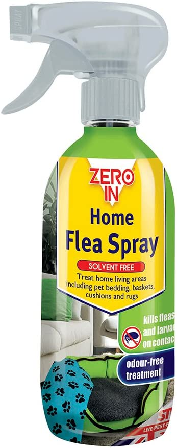STV International ZER025 Spray antipulgas Zero In Home – 500 ml (sin disolventes, Tratamiento de pulgas Transparente a Base de Agua)