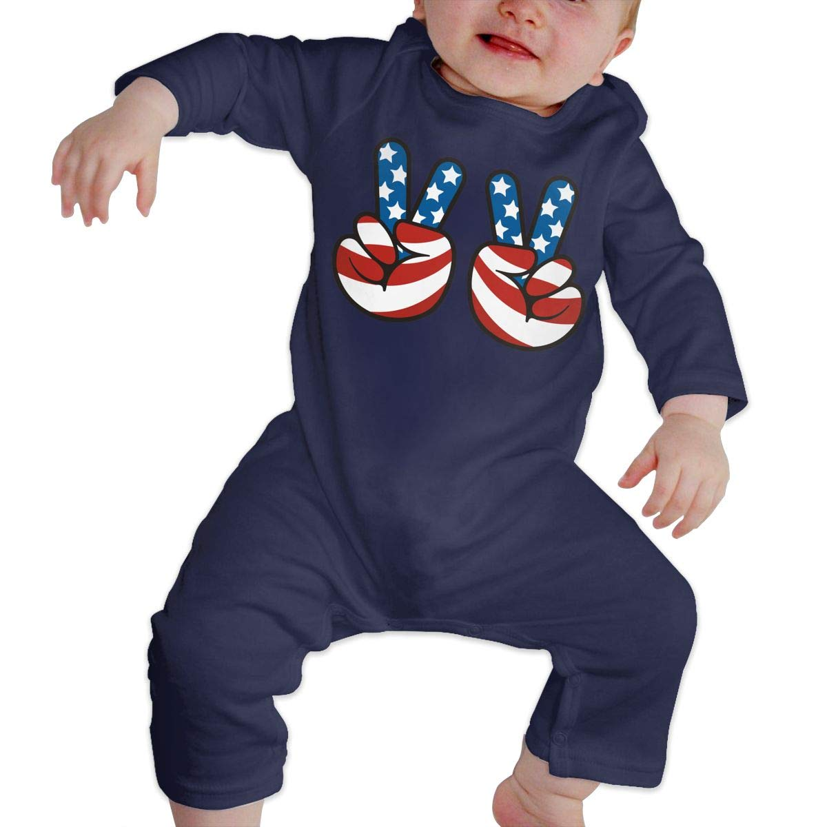 Mri-le1 Baby Girls Long Sleeved Coveralls American Flag Peace Sign Toddler Jumpsuit
