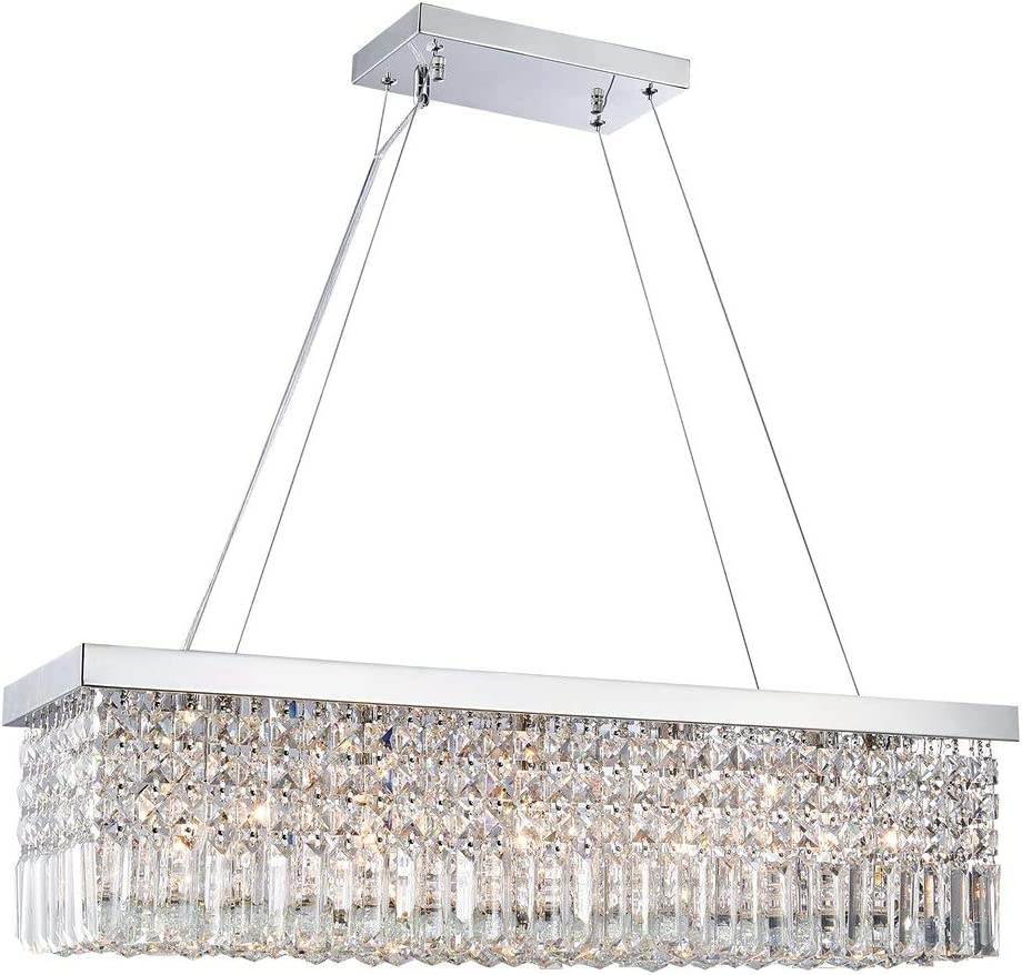 Saint Mossi Modern K9 Crystal Rectangle Raindrop Chandelier Lighting Flush Mount LED Ceiling Light Fixture Pendant Lamp for Dining Room Bathroom Bedroom Livingroom H 9in x W 10in x L 31in 5 E12 Bulbs