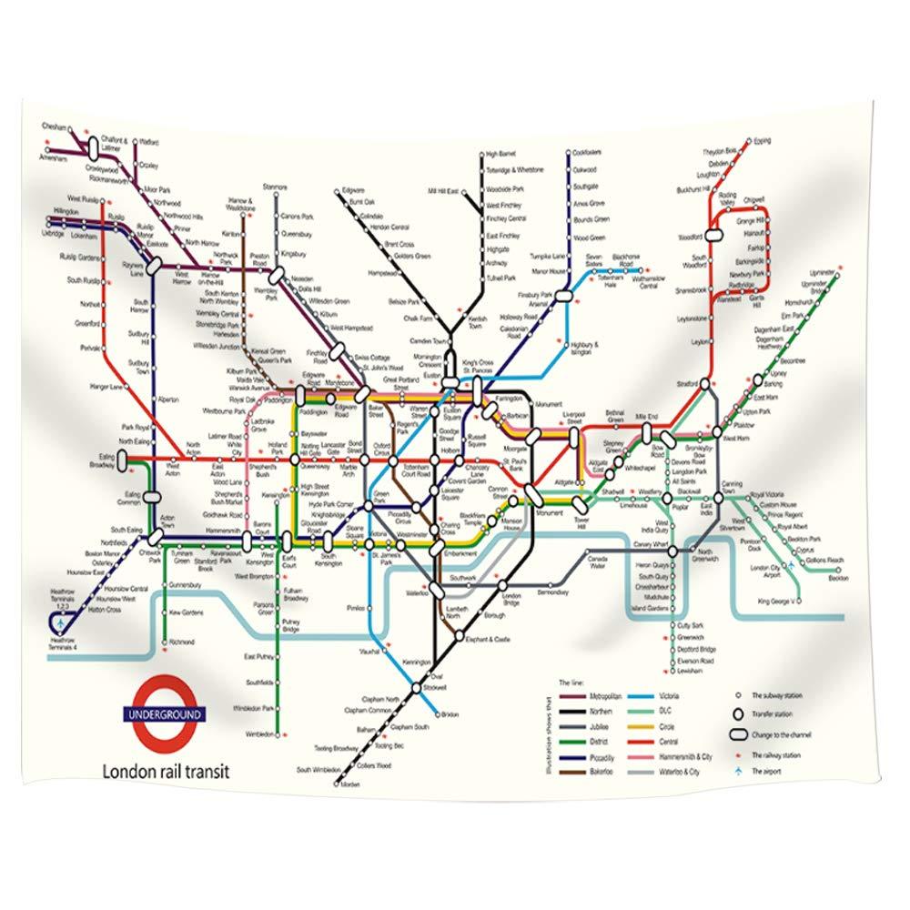 Subway Map Tapestry.Amazon Com Jawo London Subway Map Tapestry London Rail Transit