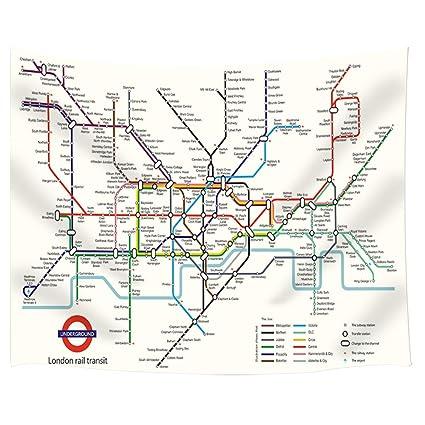 Subway Map Of London.Amazon Com Jawo London Subway Map Tapestry London Rail Transit