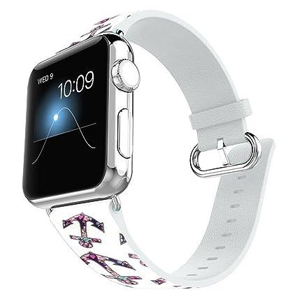 Amazon.com: Apple Watch banda 42 mm 100% Piel + conector ...