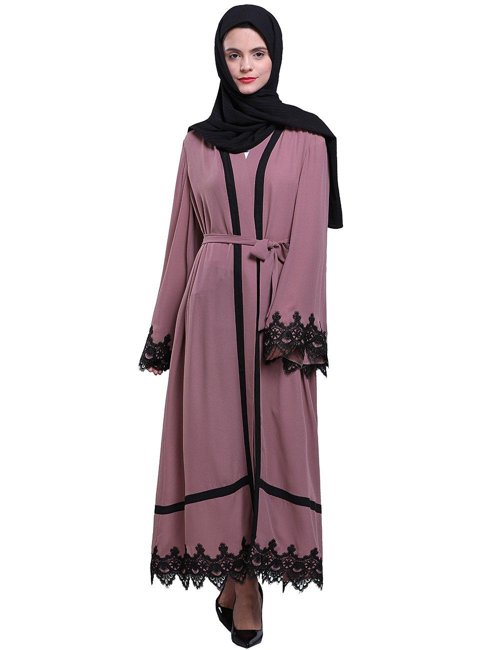 Fancyqube Women's Muslim Islamic Kaftan Abayas Lace Stitching Cardigan Loose Robe Dark Pink M