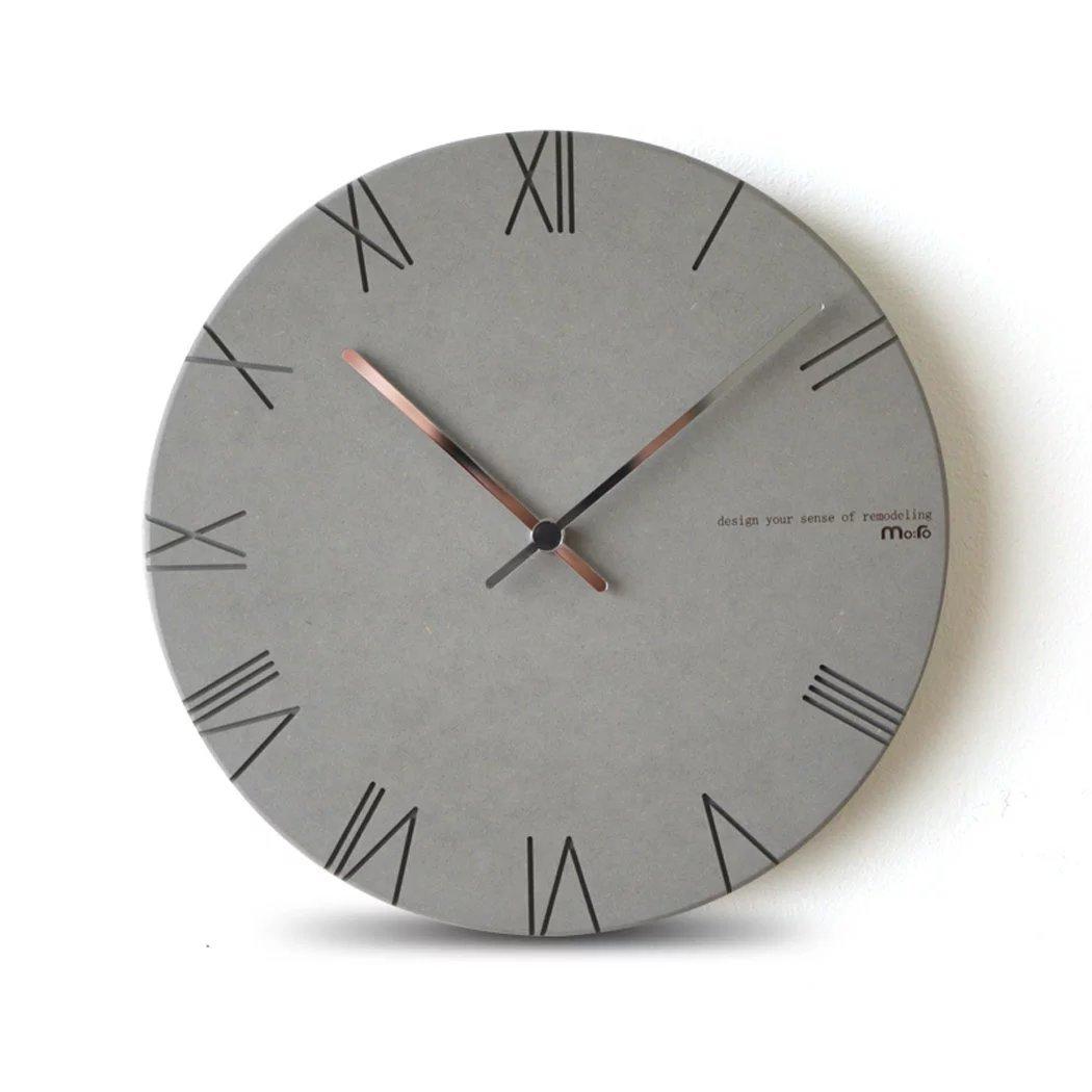 壁掛け時計 時計 壁掛け アンティーク モダン 北欧風 壁掛け時計 木製 ウォールクロック 丸い 壁飾 おしゃれ 簡単 プレゼント UNUSUAL B01M4OVR74ライトグレー