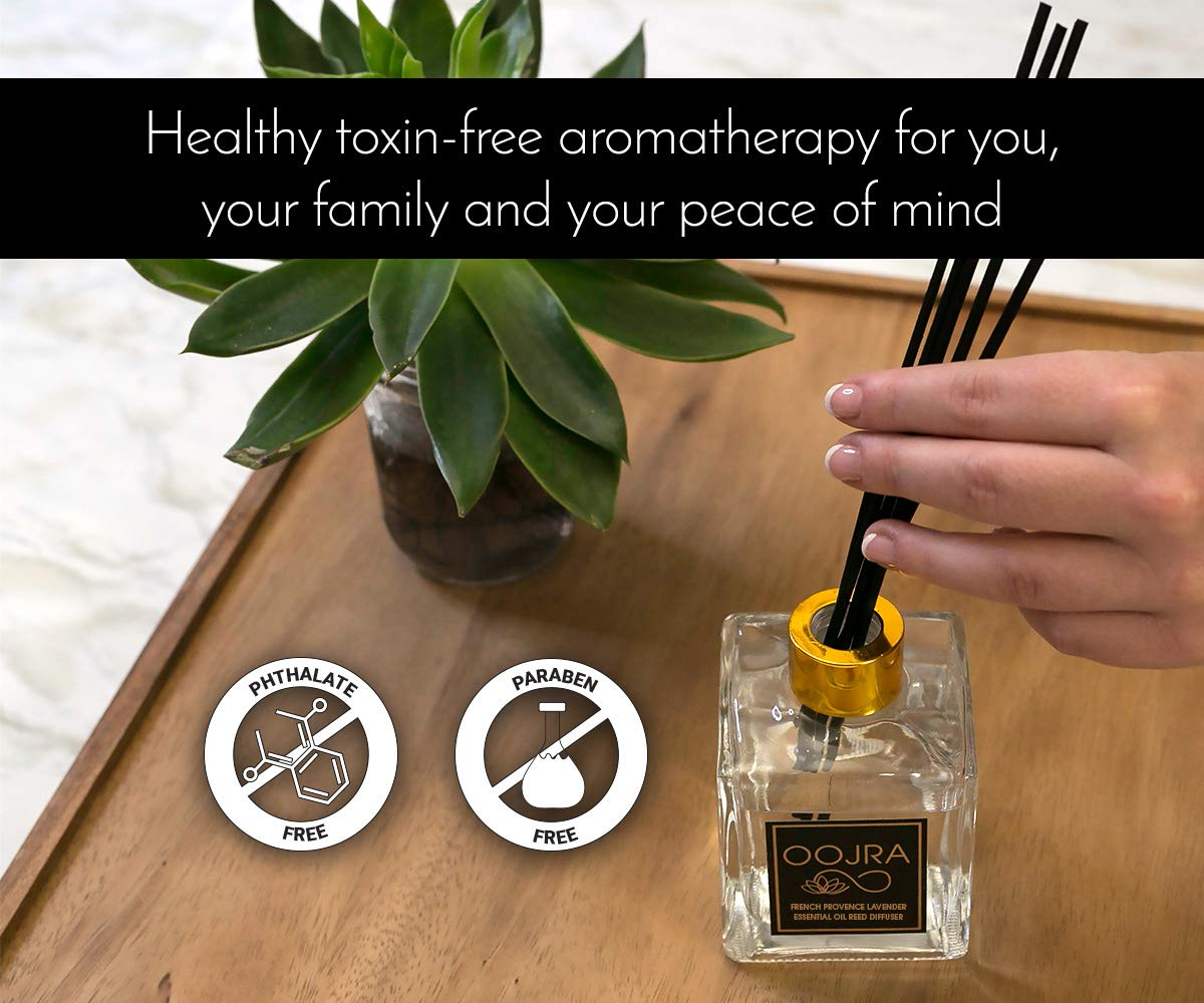 OOJRA French Provence Lavender Essential Oil Reed Diffuser Gift Set, Glass Bottle, Reed Sticks, Natural Scented Long Lasting Fragrance Oil (3+ Months 5 oz) for Aromatherapy and Air Freshener by OOJRA (Image #5)