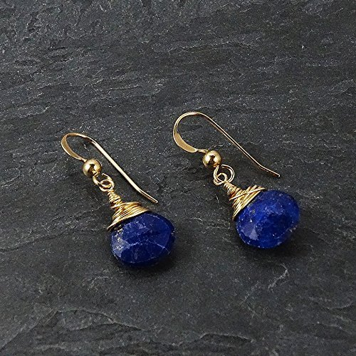 (Lapis Lazuli Gold-Filled Wire Wrapped Dangle Earrings)