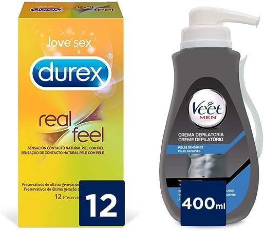 Veet for Men Crema Depilatoria para Hombre Piel Sensible 400ml + Durex preservativos Real Feel - 12 condones: Amazon.es: Salud y cuidado personal