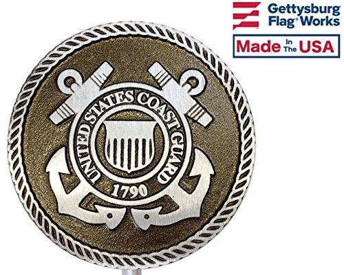 Gettysburg Flag Works Aluminum Grave Marker Coast Guard, Cemetery Memorial Flag Holder, Veteran Plaque, Made In USA by Gettysburg Flag Works