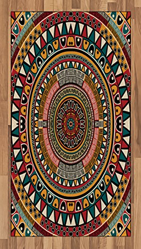 Woven Rug Mustard (Tribal Area Rug by Ambesonne, African Folkloric Tribe Round Pattern with Ethnic Colors Aztec Artwork, Flat Woven Accent Rug for Living Room Bedroom Dining Room, 2.6 x 5 FT, Jade Ruby and Mustard)
