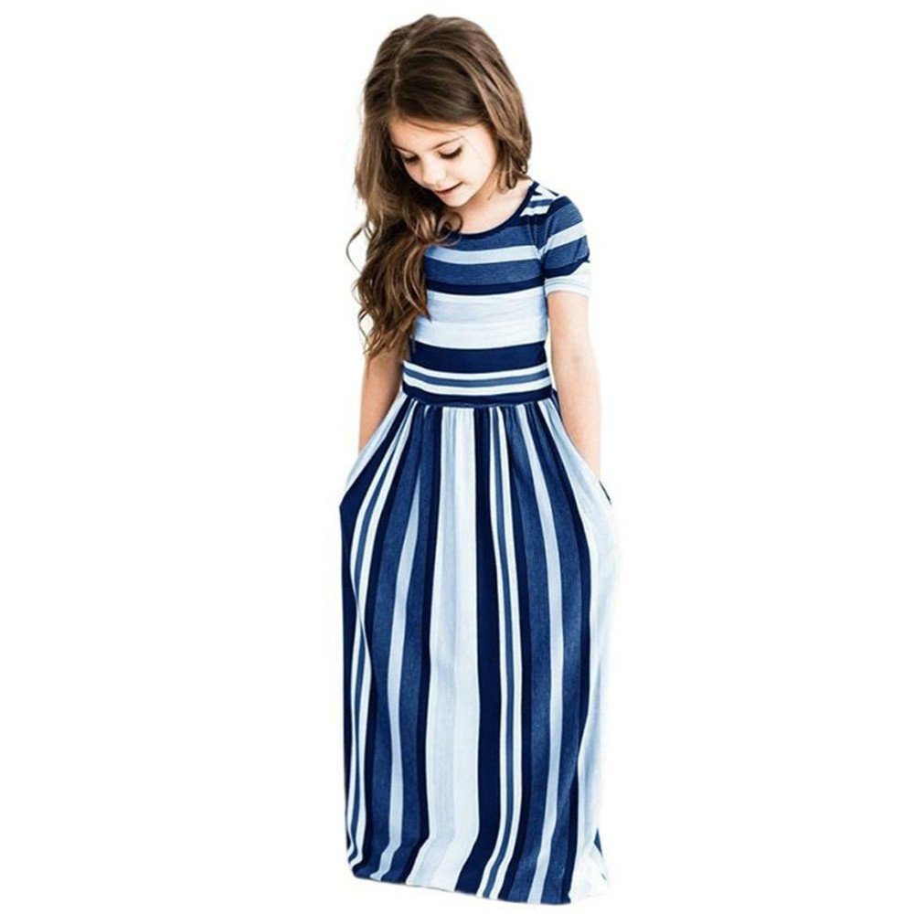 Miss Bei Girl's Summer Short Sleeve Stripe Holiday Dress Maxi Dress Pocket Size 0-7T (1-2 Years, Stripe Blue)