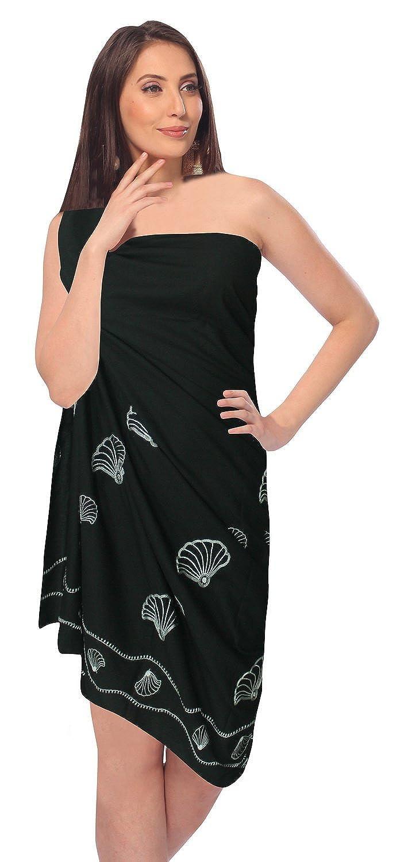 La Leela Rayon Stickerei Shell Druck 5 in einem Bademode / Badeanzug vertuschen / Tunika / sundress / Bikini Schlitz Rock / Damen Pareo / plus Größe Badeanzug Sarong langes Kleid 182x108 cm wickeln