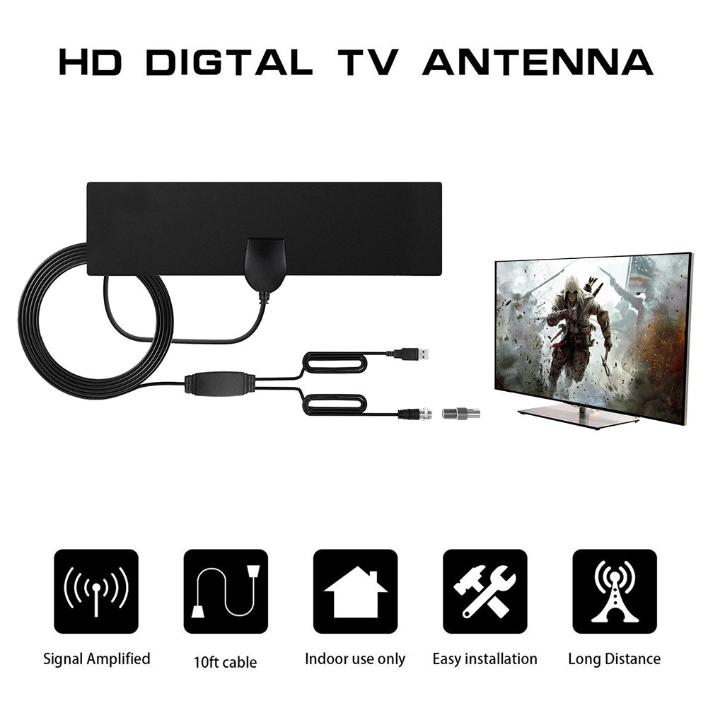 ... Digital HD Interior, 50 Millas de Amplificador de Larga Distancia Ampliador de Señal HDTV Mejora - 10 pies Cable Coaxial - Negro: Home Audio & Theater