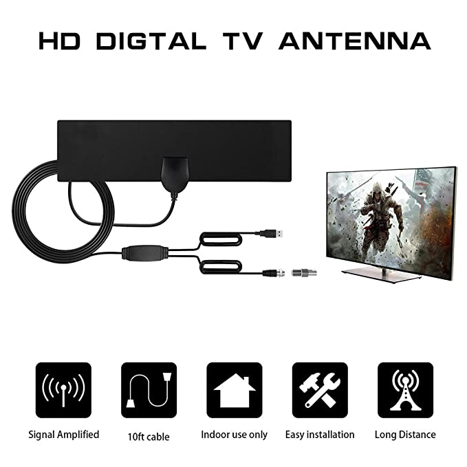 Amazon.com: Antena de TV Antena de TV Digital HD Interior, 50 Millas de Amplificador de Larga Distancia Ampliador de Señal HDTV Mejora - 10 pies Cable ...