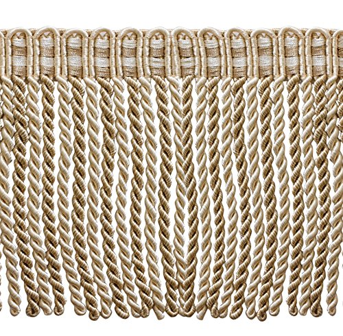 (DÉCOPRO 5.4 Yard Value Pack of 6 Inch Long Bullion Fringe Trim, Style# DB6 - Ivory, Light Beige - White Sands 4001 (16 Ft / 5 Meters))