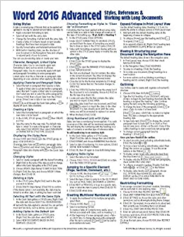 Microsoft Word 2016 Advanced Quick Reference Guide - Windows Version (Cheat Sheet Of Instructions, Tips & Shortcuts - Laminated Card) Ebook Rar