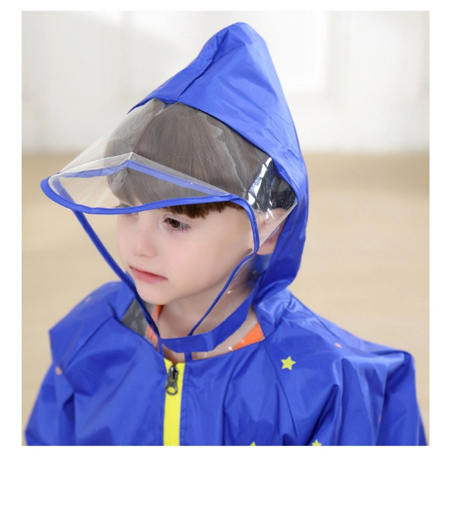 WYTbaby Kids Raincoats, Boys Girls Hooded Rain Poncho with School Bag Position,Blue by WYTbaby (Image #3)