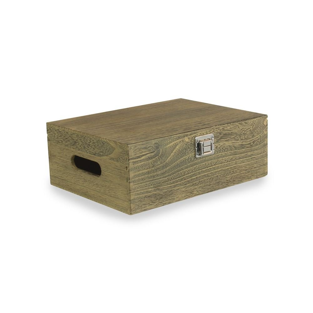 30cm Oak Effect Wooden Box