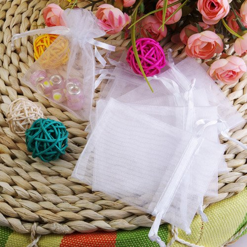 100Pcs White Organza Drawstring Pouches Jewelry Wedding Favor Gift Bags 2.3