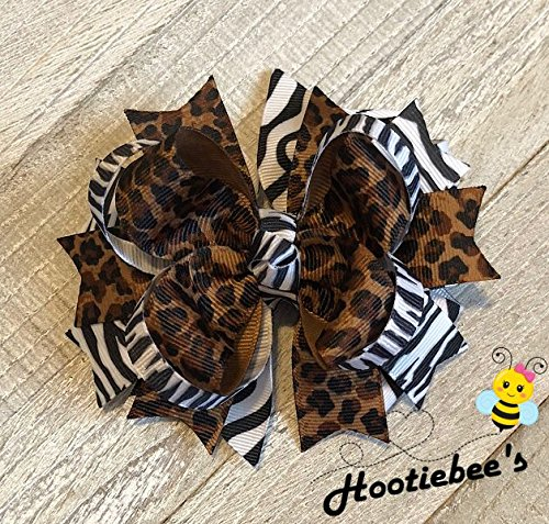 Animal Cheetah Zebra Print Boutique Hair Bow