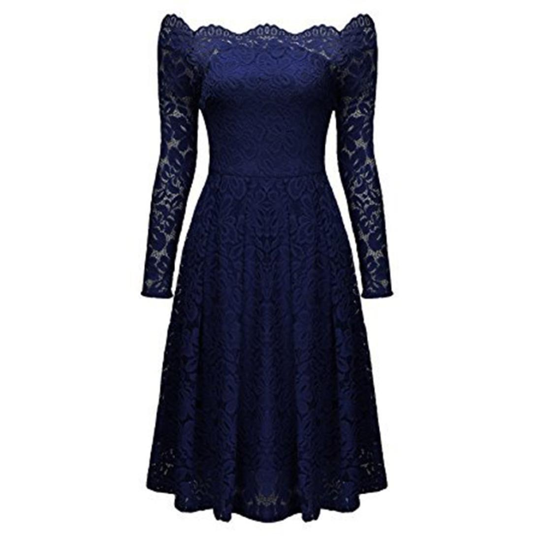 9999d284381 OverDose Damen Frauen Vintage Schulterfrei Spitze Formale Rockabilly Abend  Party Kleid Langarm Kleider  Amazon.de  Bekleidung