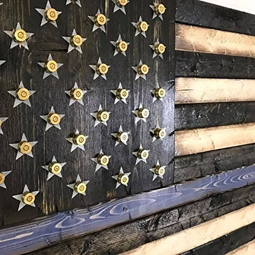 Wooden Rustic Style Thin Blue Line American Flag w/ Shell Casings (19''x37'') by Cowboy Capital Rustic Signs