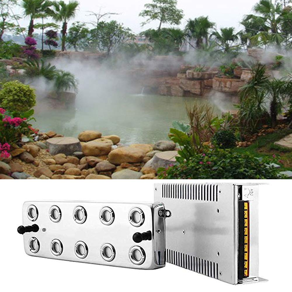 SKYTOU Mist Maker Fogger 10 Head Ultrasonic Mist Humidifier 110V Mist Maker Fogger Humidifier with Transformer for Gardening and Pond Use